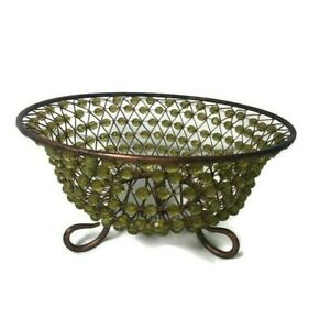 Vintage Rustic Decorative Wire Bowl With Pea Green Beads Metal Home Decor