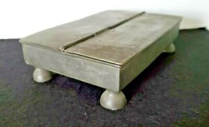 ANTIQUE PEWTER FOOTED INK WELL BOX 2 COMPARTMENTS