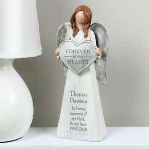 Personalised Forever In Our Hearts Memorial Angel Ornament Grave Graveside Gift