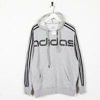 Vintage ADIDAS Big Logo Spell Out Hoodie Sweatshirt Grey | Medium M