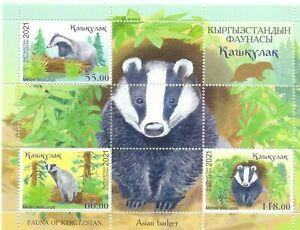 Kyrgyzstan 2021 wildlife animals badger s/s MNH