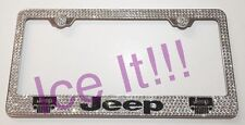 Jeep With logos Stainless Steel license plate frame W Swarovski Crystals