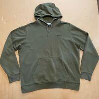Men's Y2K Khaki Green Blue Tag Nike Pullover Hoodie w/ Swoosh Logo Size XL