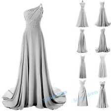 Long Silver Lace Chiffon Bridesmaid Wedding Evening Plus Size Prom Party Dresses