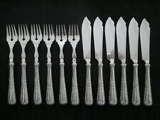 WMF 37 Wellenband 1/o Silber  Fischbesteck 6 Fischmesser + 6 Fischgabel 12 Teile