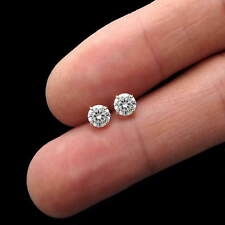 14K Yellow Gold Heavy Basket Studs 1 Ct Round Created Diamond Solitaire Earrings