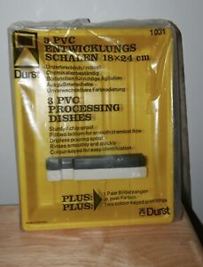 Set of 3 Durst PVC darkroom print processing trays with tongs.