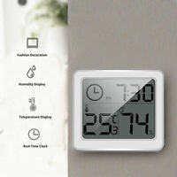 Electronic 3.2 LCD Digital Hygrometer Clock Humidity Thermometer Temperature US