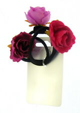 3 X Noir Elastiques à Cheveux avec Fleurs 3 Différent Roses
