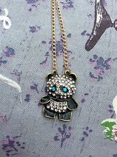 FREE GIFT BAG Gold Plated Rhinestone Crystal Panda Cute Necklace Chain Jewellery
