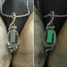 Handmade OOAK glow in the dark wire wrapped glass vial necklace