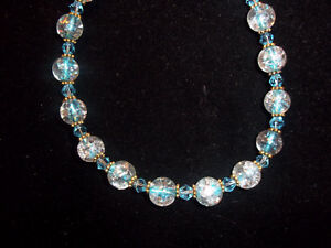 10 inch BLUE Glass and CRYSTAL Bead & Tibetan Silver Spacer ANKLE Bracelet C-80