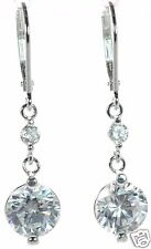 Solid 925 Sterling Silver Round Clear CZ Lever Back Earrings '