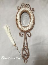 Vintage Cream and Gold Victorian victoria Oval hand wall Mirror