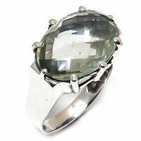 Green Amethyst Natural Gemstone Handmade 925 Sterling Silver Ring Size 9 R-69