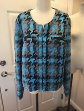 Chat Wicks Woman's Blue Brown Tweeted Jacket Blazer Size 18