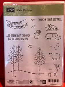 WHITE CHRISTMAS Stampin Up NEW Deer Woods Bear Pennant Snowman Car Tree