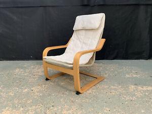 EB1816 Danish Beech & White Canvas Child's Cantilever Chair Mid-Century Modern