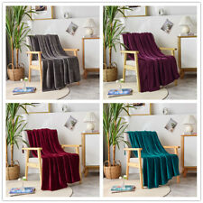 "Super Soft Luxurious Plush Fleece Throw Blanket Light Solid Colors 50"" x 60"""