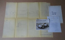 1955 Jaguar XKD D-type 1:10 Factory Outline Drawing + Photo, Letter + Brochure