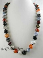 25'' 14mm round faceted red black blue  agate necklace