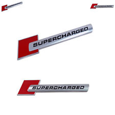 2 X Red Supercharged Emblem Fits GM - Ford - Audi - Cadillac - 100% Universal