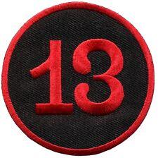 Lucky 13 thirteen biker punk rockabilly embroidered applique iron-on patch S-578