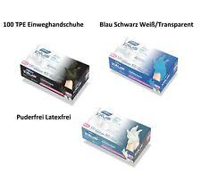 100 TPE Einweghandschuhe Blau Schwarz Weiß/Transparent Einmalhandschuhe S M L