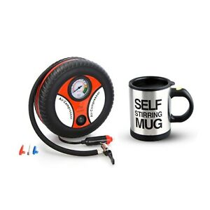 260PSI Auto Car Electric Tire Inflator with Self Stirring Mug (Black)