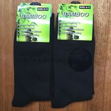 6 Pairs SIZE 6-11 95% BAMBOO SOCKS Men's Premium Work/School Socks Comfort Black