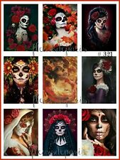 NEW! Vintage Day of the Dead Girls Art 9 Small Prints on Fabric Quilting FB 321