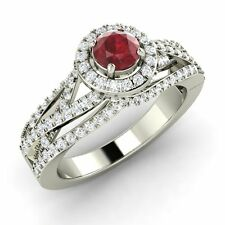 1.80Ct Red Round Cut Diamond Certified 14K White Gold Beautiful Engagement Ring
