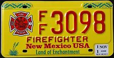 """NEW MEXICO """" FIREFIGHTER - FIRE FIGHTER""""  ENCHANTMENT NM Specialty License Plate"""