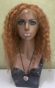 """Lace Front 100% Natural Human Hair Wig Curly 20"""" (stretched) Golden Brown"""