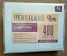 "Heartland Full Size Sheet Set ""Mint"" 100% Cotton Grown in Usa 400 Thread Count"