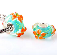 1pcs SILVER MURANO GLASS BEAD LAMPWORK Animal fit European Charm Bracelet DW293