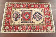 Hand-Knotted Geometric IVORY Oriental Area Rug WOOL Super Kazak Foyer Carpet 2x3