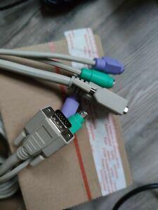 ★ 2 x cable 3m extension kvm rallonge vga ps2 prolongateur vidéo clavier souris
