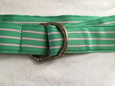 J.Crew Stripe Ribbon Scarf Belt w/ Bamboo D-Ring Buckle S/M - Made in USA