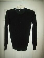 Whistles Knit Top US 0 XS Black Gold Glittery Stretchy Draped Fall Holiday