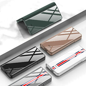 For Samsung Zfold3 w22 Leather Phone Case Creative Flip Glass Folding Sleeve CAU