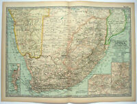 Southern Africa - Original 1897 Map by The Century Company. Antique Map