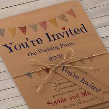 Personalised Vintage Wedding Invitation Set Festival Bunting Buff Inc Envelopes 50