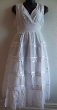 Sundress 1X Plus White Soft Cotton Dress Lace Empire Waist Tiered Lined NWT 107