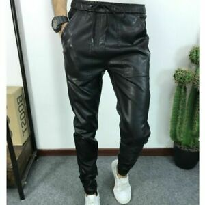 Men's Genuine 100% Lambskin Leather Pant Slim Fit Black High Quality Joggers