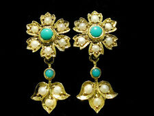Genuine 9ct Yellow Gold NATURAL Turquoise Pearl Floral Cluster Drop Earrings