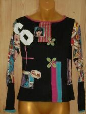 Derhy Black Multi Cartoon Print Long Sleeved Jumper Top - Size M BNWT