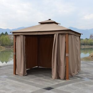 ALEKO 10x10 ft Double Roof Gazebo with Curtains Aluminum Leg Painting in Wood