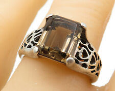 925 Sterling Silver- Vintage Smokey Quartz Carved Out Solitaire Ring Sz 8- R5643