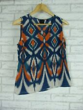 DAVID LAWRENCE Top/Blouse Sz 8 Blue, Orange, Gray Print 100% Silk
